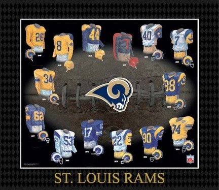 Louis Rams Uniform - NFL Saint Louis Rams Evolution of The Team Uniform Framed Photograph