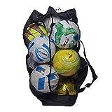 WILNARA Large Nylon Mesh Ball Bag Adjustable Shoulder Straps Adults Beach Backpack (Holds 15 Soccer Balls)
