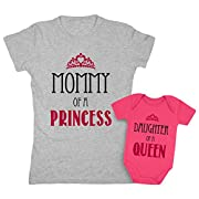 TeeStars Mommy Of a Princess & Daughter Of a Queen Mother & Daughter Matching Set Shirt Bodysuit Clothing Newborn/Women X-Large, Women Gray/Baby Wow Pink