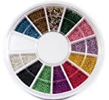 12 Colors Mini Beads Ball NAIL ART 3D Decoration In Wheel with Bonus Sample