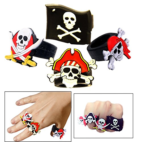 Toy Cubby Pretend and Play Rubber Skull and Crossbone Pirate Ring - 12 Pcs -