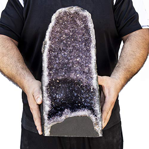 Beverly Oaks AAA Grade Large Amethyst Geode - Amethyst Crystal Cathedral Geode - Raw Amethyst Stone Geode - 18.39 lbs Amazing Amethyst Cluster (AC-75)