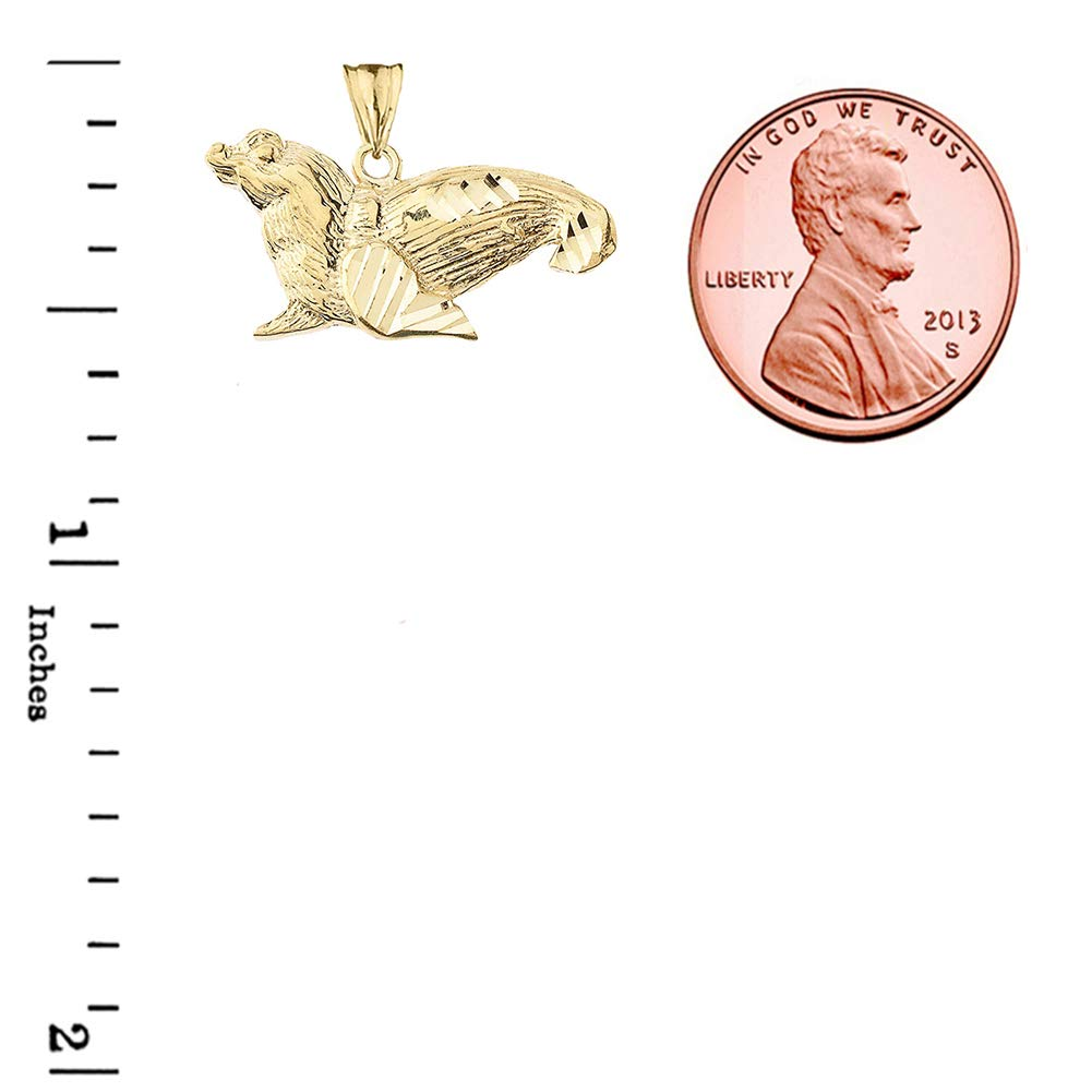 Fine 14k Gold Sparkle-Cut Sea Lion Animal Pendant Necklace