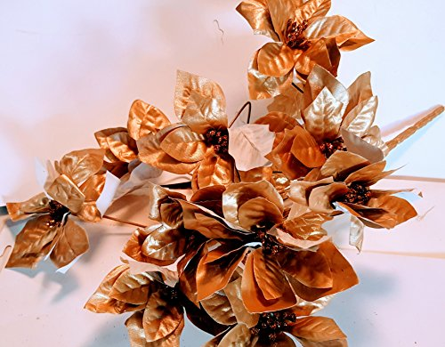 10 Medium Size Pearly Gold pointsettia with Matte White Backs on The Blossoms and Metalic Gold Leafs and Glittered Center Stamens MSRP 9.99. 2 Bushes per Order - 19.98 Value - Glittered Leaf