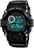 Fanmis Unisex Fashion Sport Watch Military Multifunction Led Digital Waterproof Alarm Wristwatch Blue