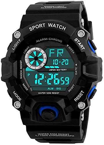 Fanmis Unisex Fashion Sport Watch Military Multifunction Led Digital Waterproof Alarm Wristwatch Blue by Fanmis