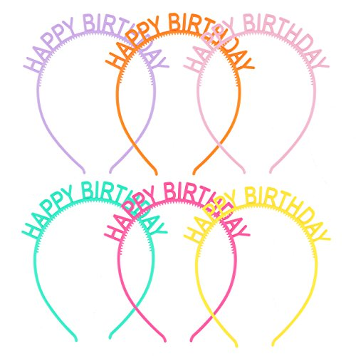 Plastic Headbands Girls Hairbands Happy Birthday Headbands Party Favor Mixed 6 Color ()