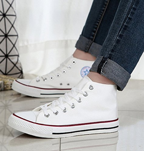 (Taglia 38 Adatta A Un piede Di Lunghezza 23,5Cm)- Scarpe Da Ginnastica Alte Per Donna In Tela Colore Bianco