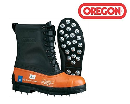 New Oregon 537310 Safety CHAINSAW FORESTRY BOOTS Size 10 Leather Top - Caulked Sole