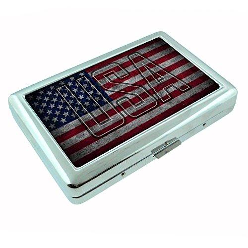 Vintage American Flag D7 Silver Metal Cigarette Case Patriotic Freedom American Heroes (Flag Vintage Metal)