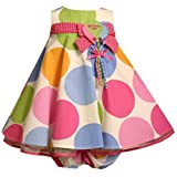 Size-18M BNJ-1807R 2-Piece WHITE MULTI-COLOR BIG DOT 'Birthday Girl' BALLOON Special Occasion Birthday Party Dress,R17558 Bonnie Jean BABY/INFANT