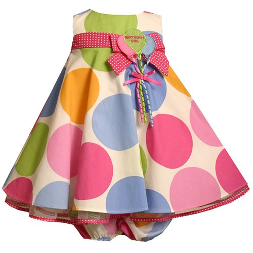 Bonnie Jean Baby/INFANT 12M-24M 2-Piece WHITE MULTI-COLOR BIG DOT 'Birthday Girl' BALLOON Special Occasion Birthday Party Dress