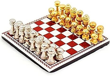 1:12 Scale Dollhouse Miniature Metal Chess Set Board Toys Gold /& Silver Pieces