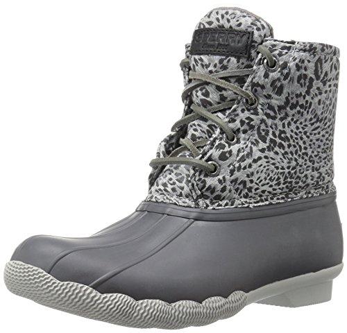 Sperry Top-Sider Women's Saltwater Prints Rain Boot, Dark Grey Cheetah, 5 M US