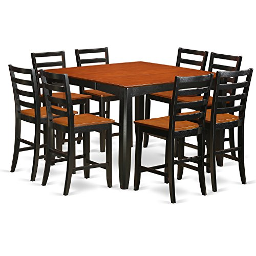 East West Furniture FAIR9-BLK-W 9 Piece Pub Table Set, Black/Cherry Cherry Square Butterfly Table