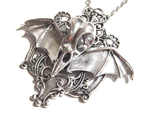 (Regal Rock Bird Skull & Vampire Bat Wins Silvertone Cameo Pendant on Chain Necklace Gothic Punk Occult)
