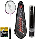 Joobong SUPER LT 1000Ultra-light Carbon Badminton Racket+Joobong Badminton Shuttlecock+YONEX BG-65 String_White