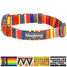 """Blueberry Pet Nautical Flags Inspired Designer Basic Dog Collar, Neck 18""""-26"""", Large, Adjustable Collars for Dogs"""