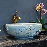 sspz Bathroom Sink/Washbasin/Corner Basin/Flower Bird Bathroom Counter Top Wash Basin Cloakroom Hand Painted Vessel Sink Bathroom Sink Patterned Ceramic Sink Round