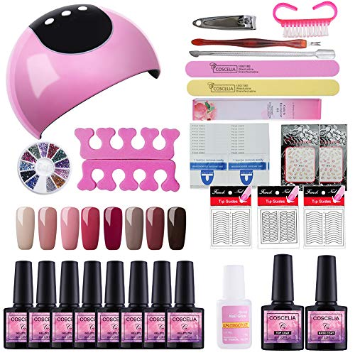 Fashion Zone 8 Colors Gel Nail Polish Starter Kit with 24W LED Nail Dryer Lamp, Gel Nail Polish and Base Top Coat, Manicure Tools Set for Home Salon