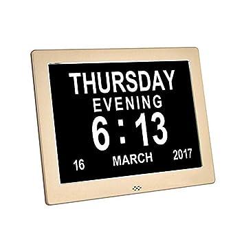 Reloj Calendario Digital Calendario digital Día Reloj Metal Números extra grandes Impedida visión Alarma Reloj electrónico