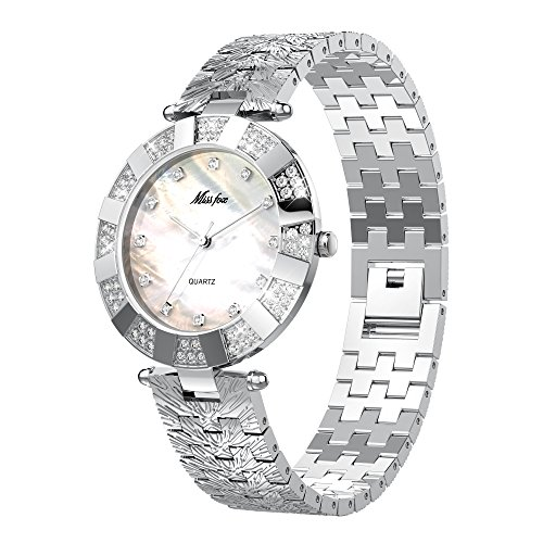 Junboer for Miss Fooc Round Dial Quartz Wrist Watch with Luxury Sparkling Diamond Accents Stainless Steel Watch