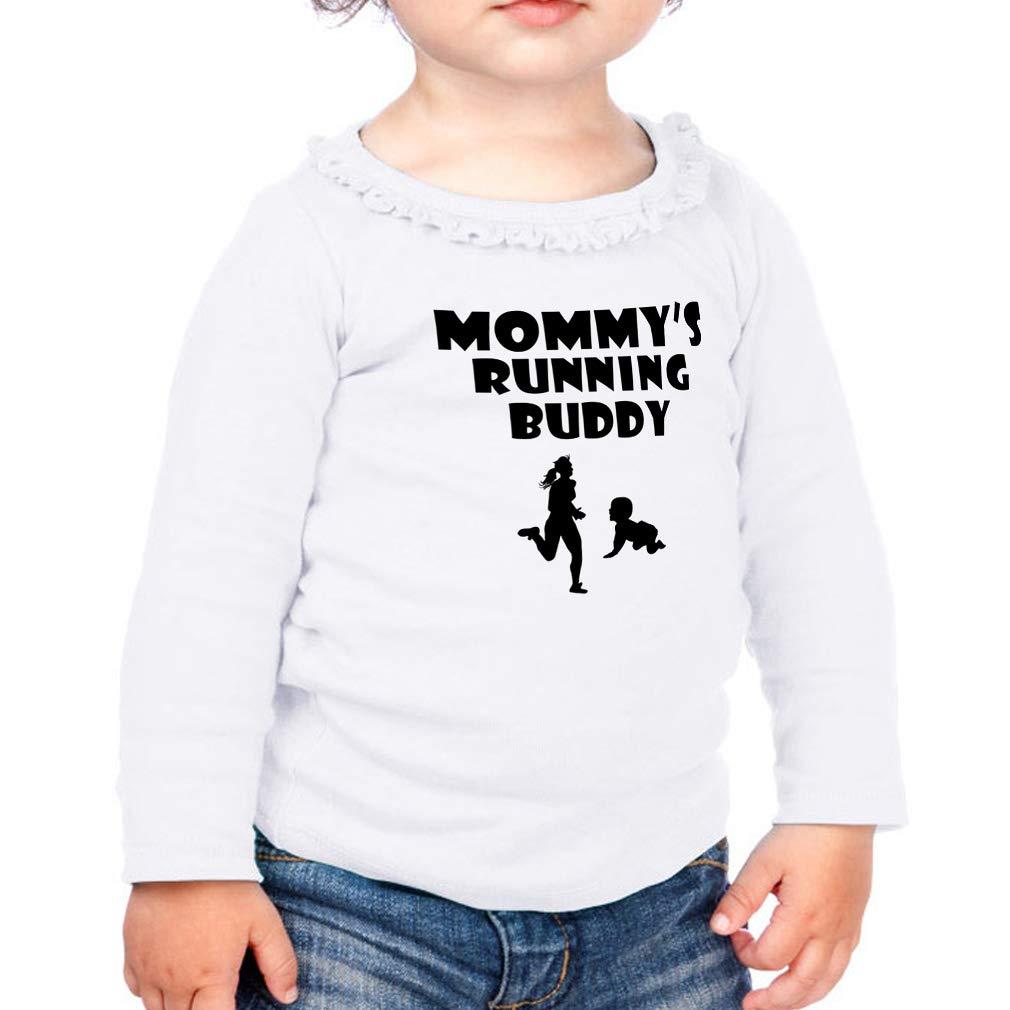 Mommys Running Buddy Cotton Girl Toddler Long Sleeve Ruffle Shirt Top