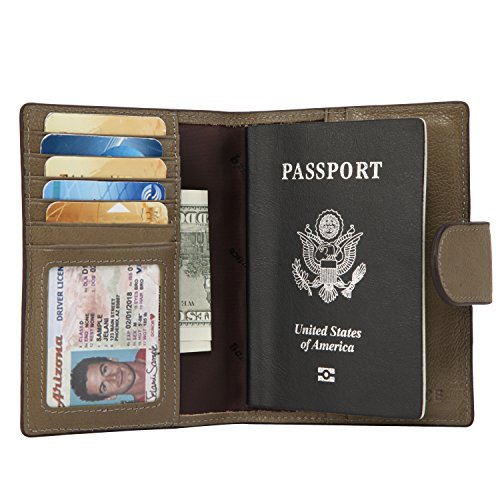 Banuce Italian Leather Passport Cover Card Holder Travel Wallet (Bronze Green)