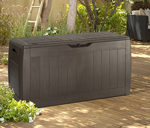 Outdoor Plastic Storage Containers (Keter Sherwood Plastic Deck Storage Container Box Outdoor Patio Furniture 71 Gallon, Brown)
