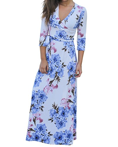 Klousilover Womens V Neck Floral Print Wrap Party Maxi Long Dress with ()