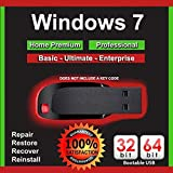 Windows 7 All Versions Home Premium Professional Basic Enterprise 32-64 Bit Install | Boot | Recovery | Restore USB Flash Drive Disk Perfect for Install or Reinstall of Windows