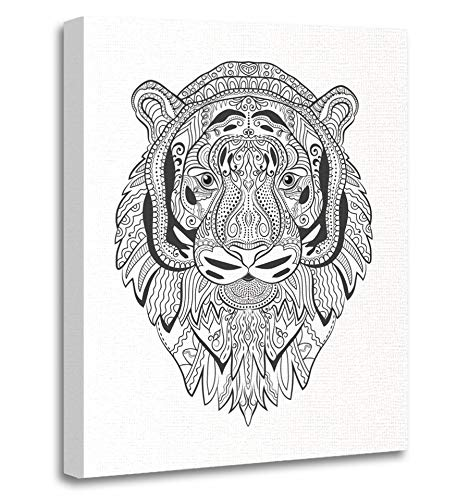 Emvency Painting Canvas Print Artwork Decorative Print Tiger Face Doodle Animal Sketch Emblem Tattoo Coloring Book Page Zen Wooden Frame 12x16 inches Wall Art for Home Decor