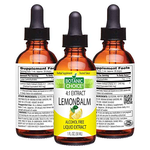 Botanic Choice Lemon Balm Liquid Extract - Alcohol-Free Herbal Daily Supplement - Promotes Natural Peace of Mind Calmness Tranquility and Restful Sleep for Overall Wellness
