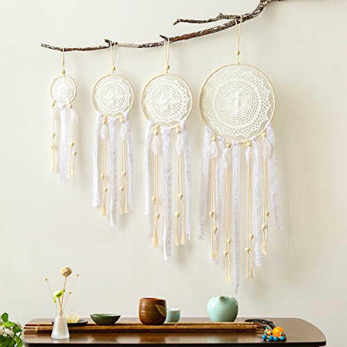 HiPlus 4 PCS BOHO Handmade White Feather Native Macrame Dream CatchersWedding Party FavorNursery DecorBaby ShowerBirthday GiftBedroom Wall Ornaments Car Hanging Decoration