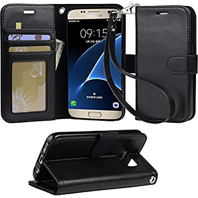 Galaxy s7 Case, Arae [Wrist Strap] Flip Folio [Kickstand Feature] PU leather wallet case with ID&Credit Card Pockets For Samsung Galaxy S7 by eTeMall