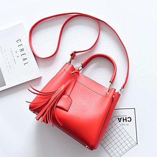 Handbag El Nuevo Bolso de Las Mujeres, Bolso de Hombro de Las Señoras Coreanas, Bolso Simple, Bolso Diagonal. A+ (Color : Blanco) Red