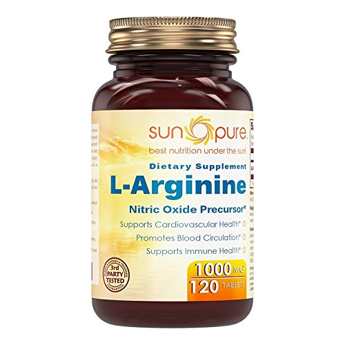 Sun Pure Premium Quality L-Arginine 1000 Mg 120 Tablets Glass Bottle – Nitric Oxide Precursor * Supports Cardiovascular Health, Promotes Blood Circulation & Supports Immune Health* Review