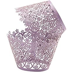 Ellami 50pcs Pearly Paper Filigree Vine Lace Cupcake Wrappers Wraps Cases Wedding Birthday Decorations