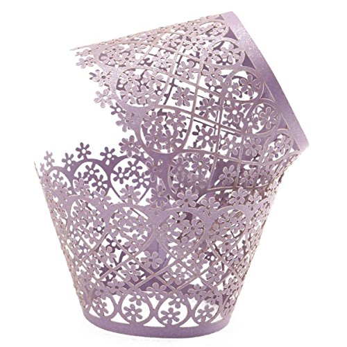 Ellami 50pcs Pearly Paper Filigree Vine Lace Cupcake Wrappers Wraps Cases Wedding Birthday Decorations by Ellami