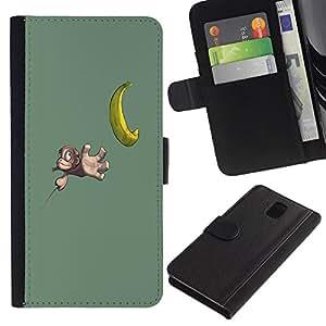 LASTONE PHONE CASE / Lujo Billetera de Cuero Caso del tirón Titular de la tarjeta Flip Carcasa Funda para Samsung Galaxy Note 3 III N9000 N9002 N9005 / Funny Cute Banana Monkey