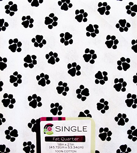 FAT QUARTERS (1) DOG / CAT SMALL Paw Print BLACK ON WHITEMbackground ~ 100% COTTON FABRIC ~ Quilt Fabric ~ CRAFTS ~ SEWING