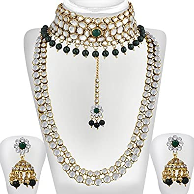 e0258ebc4 Image Unavailable. Image not available for. Colour: Spargz Gold Plated  Green White Kundan Pearl Haram & Choker Necklace Set ...