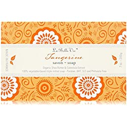 La Belle Vie 100% Pure Vegetable Based Triple Milled Soap, 7 oz (200g), Organic Shea Butter and Calendula Extract, Luxurious Lather, Long Lasting Bar, Gluten Free, Made in France Tangerine