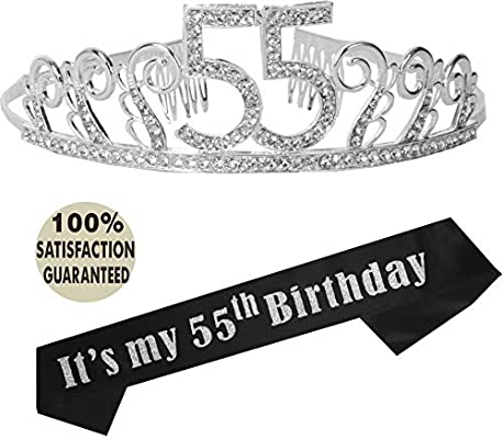55th Birthday Tiara And Sash Its My Party Supplies Black Glitter Satin Crystal Crown For