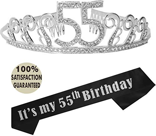 55th Birthday Tiara and Sash, It's my 55th Birthday Party Supplies, 55th Black Glitter Satin Sash and Crystal Tiara Birthday Crown for 55th Birthday Party Supplies and Decorations -