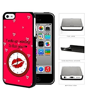 MMZ DIY PHONE CASERed Lips Kiss With Mini Heart Shapes Hard Plastic Snap On Cell Phone Case Apple iphone 5c