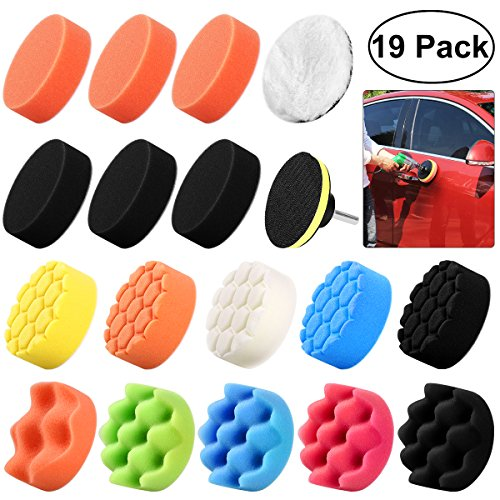 WINOMO 19Pcs Polishing Pads Sponge Buff Pads Set Kit with M10 Drill Adapter for Car Polisher (Difference Between Random Orbital And Dual Action)