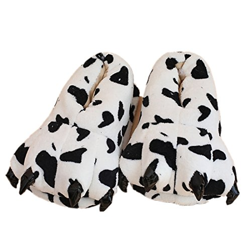 MiziHome Unisex Soft Paw Claw Home Slippers Animal Costume Shoes Cow L]()