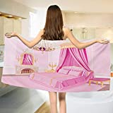 Chaneyhouse Princess,Baby Bath Towel,Interior of Magic Princess Bedroom Old Fashioned Ornament Pillow Mirror Print,Print Wrap Towels,Pink Yellow Size: W 10'' x L 39.5''