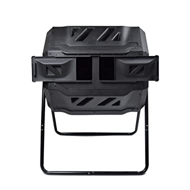 EJWOX Garden Compost Bin Tumbler, 43 Gallon Capacity with 2 Chambers Dual Rotating Composting Tumbler